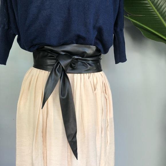 Sophisticated Leather Sash Belt